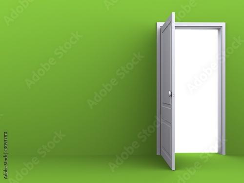 Fotografía  White opened door in the green wall