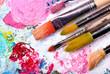 canvas print picture - Farbpalette mit vielen Pinseln