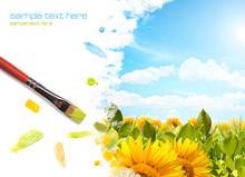 Painting Sunflower Landscape