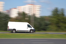 Delivery Van With Blank Advertisement Space