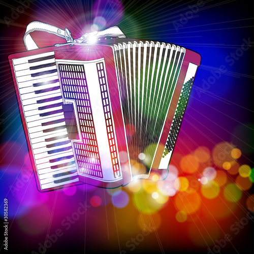 Fotografía  Accordion & color bokeh abstract light background