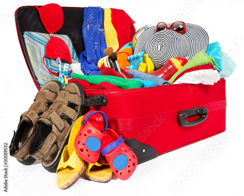 Fotobehang Cars Family travel red suitcase packed for vacation