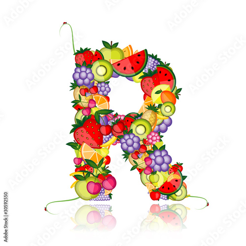 Fototapeta Fruit letter for your design. See others in my gallery obraz na płótnie
