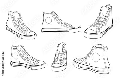 Sneakers outline vector illustration Fototapeta