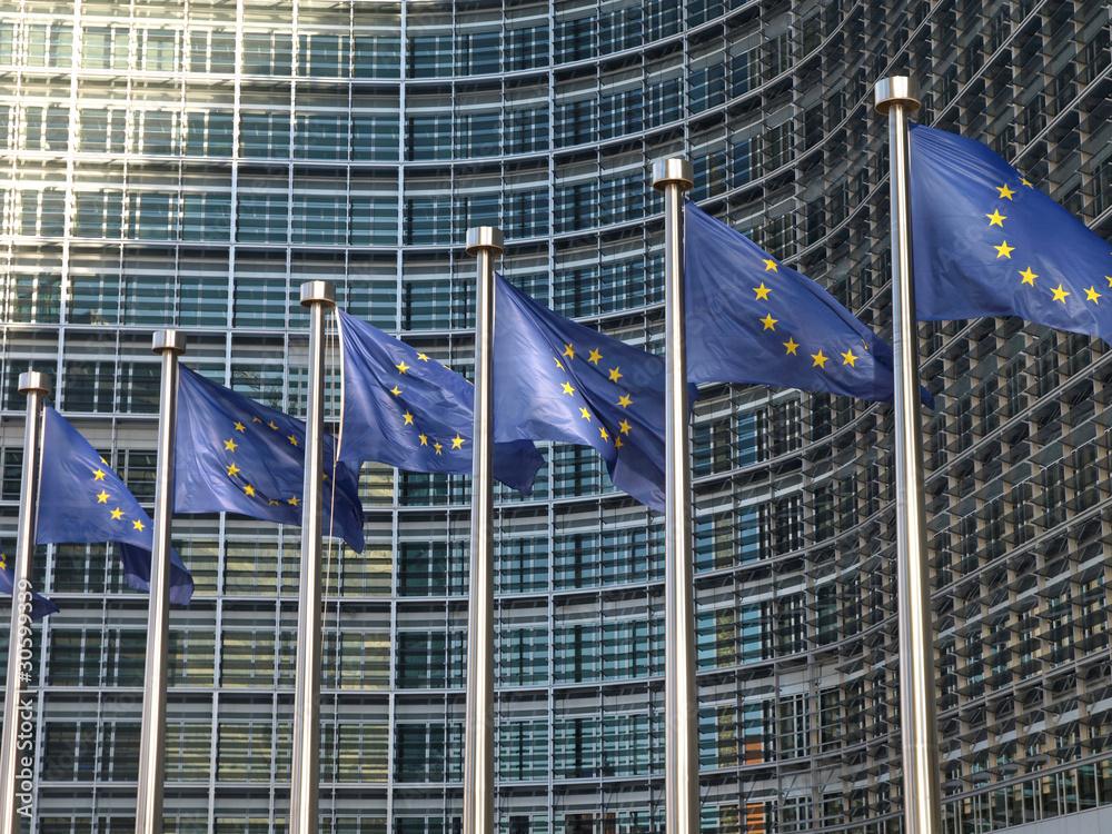 Fototapety, obrazy: Europafahnen vor der EU-Kommission Brüssel9