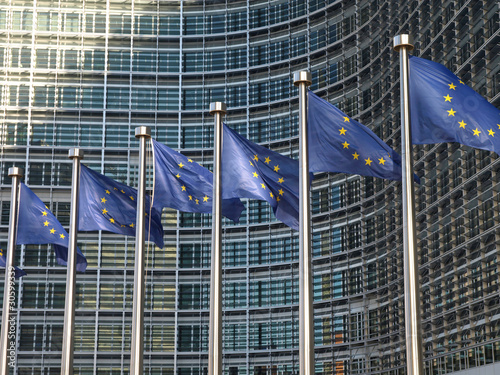 Foto op Canvas Brussel Europafahnen vor der EU-Kommission Brüssel9