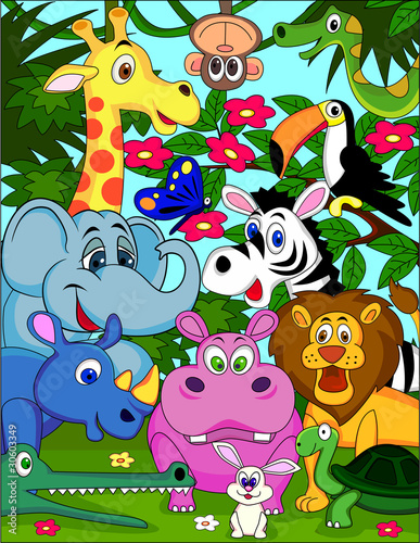 Foto op Aluminium Zoo vector illustration of animal cartoon