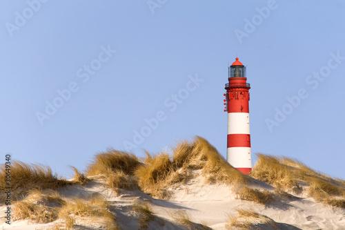 Foto-Schiebegardine Komplettsystem - Leuchtturm am Strand von Amrum