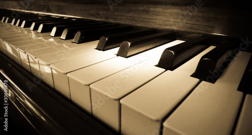 Fotografie, Obraz  Close up shot of piano keyboard