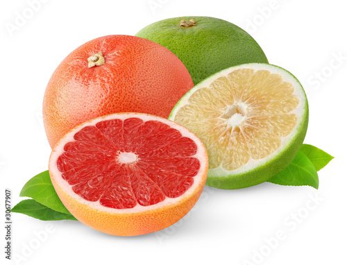 Poster Vruchten Isolated grapefruits. Cut grapefruits of different color isolated on white background