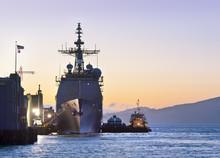 A U.S. Navy Cruiser At Port In San Francisco