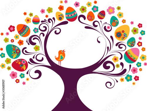 Poster Vogels, bijen Easter tree background