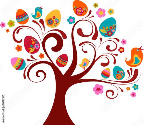 Poster Vogels, bijen Curled Easter tree