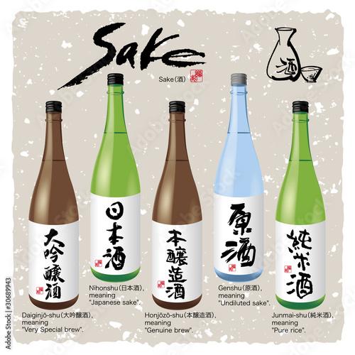 Fotografie, Obraz  Japanese Kanji character Sake and bottle(1)