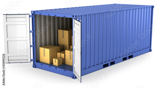 Blue opened container with carton boxes inside Wallpaper Mural