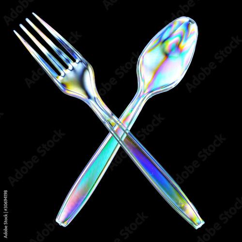 Plastic Fork and spoon Photoelasticity birefringence Wallpaper Mural