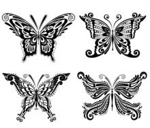 Beautiful Butterflies Silhouettes. Set.
