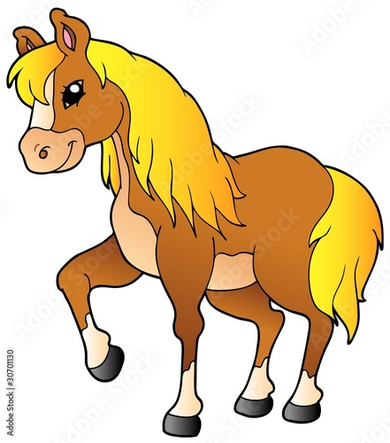 Deurstickers Pony Cartoon walking horse