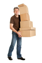 Delivery Man Carrying Stack Of Boxes