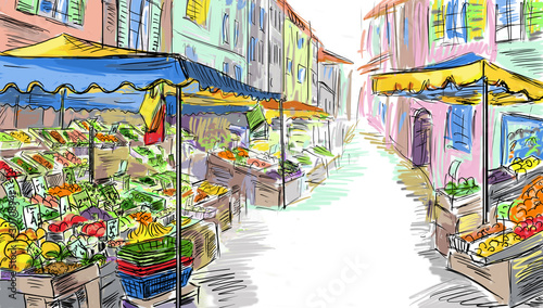 Foto auf AluDibond Gezeichnet Straßenkaffee Fruits and vegetables shoping.Illustration