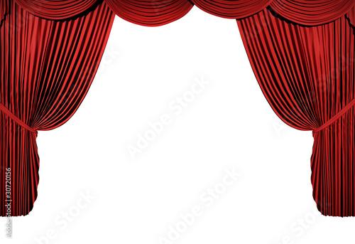 Fotografie, Tablou  3d stage render, red curtain