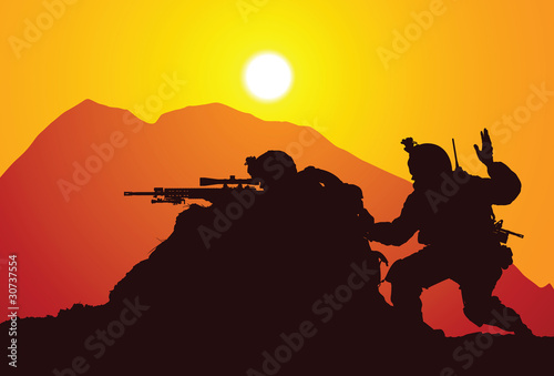 Poster Militaire Vector silhouette of two snipers