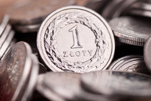 Background Made Of Polish One Zloty Coins