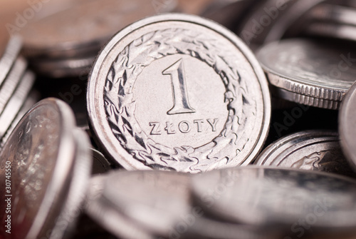 Fotografía  Background made of Polish one Zloty coins