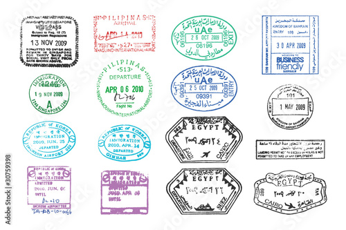 various passport stamps Canvas Print