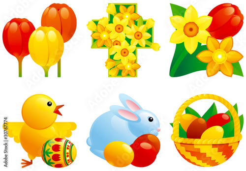 Photo Stands Birds, bees Icon set for easter