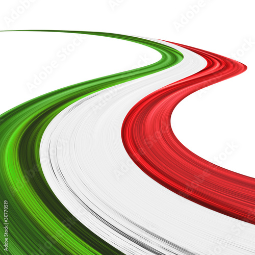 Door stickers Draw Italia Tricolore Onda Astratta-Italy Flag Abstract Wave