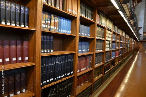 Poster Bibliotheque Bibliothek, Bücherregal mit Lexika in New York Library
