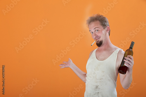 Smiling Man with Bottle and Cigarette Canvas Print