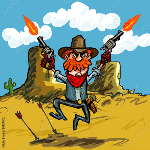 Deurstickers Wild West Cartoon cowboy jumping with his six guns