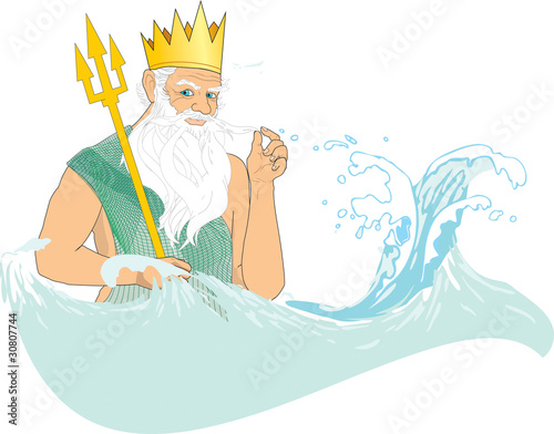 Valokuvatapetti Neptune (Poseidon) in crown with trident at sea
