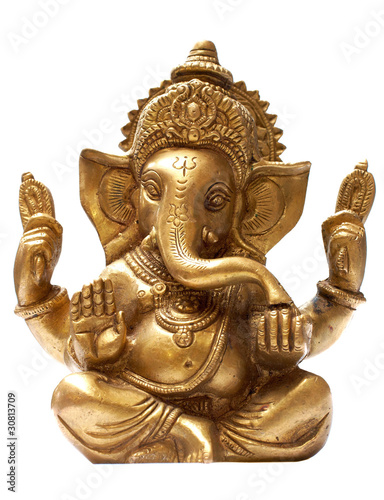 Obraz na plátně  Golden Hindu God Ganesh over a white background