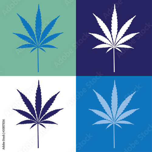 four cannabis leaf illustration - 30817836