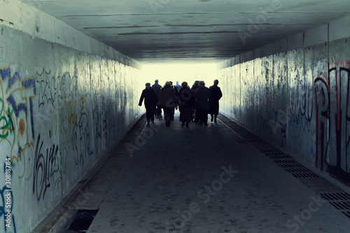 Papiers peints Tunnel People in Subway. Light at End of Tunnel