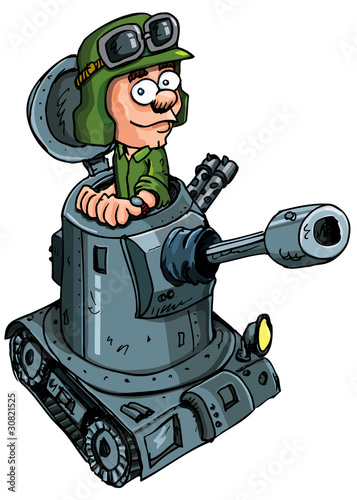 Deurstickers Militair Cartoon soldier in a small tank