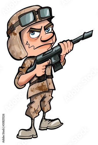 Foto op Canvas Militair Cartoon soldier isolated on white