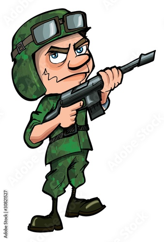 Garden Poster Military Cartoon soldier isolated on white