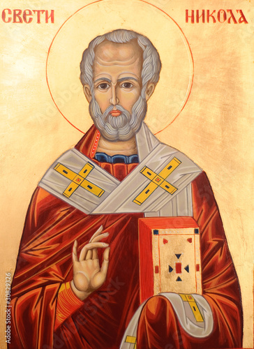 Tela Icon of Saint Nicholas orthodox style