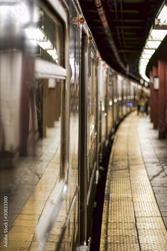 Subway train on a station Canvas Print