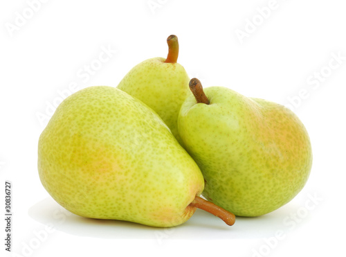 Three pears isolated on white background Canvas Print