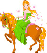 Princess riding horse. Spring