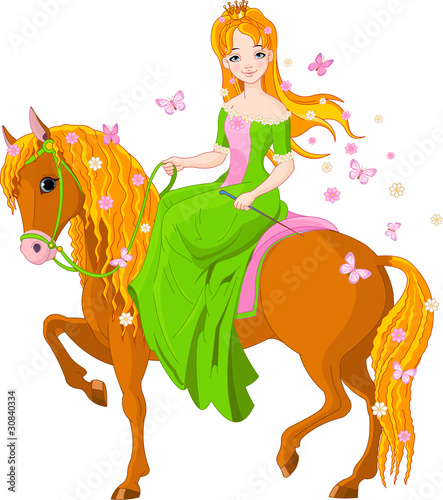 Garden Poster Pony Princess riding horse. Spring