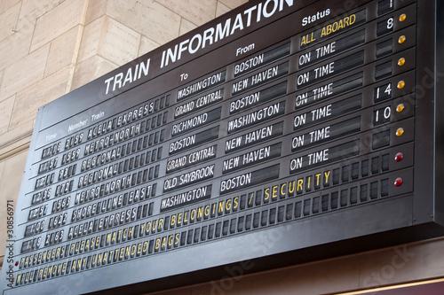 Photo  Train Station Schedule Board