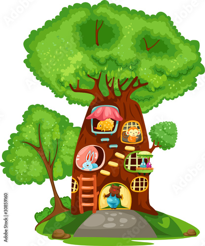 Printed kitchen splashbacks Forest animals Tree house
