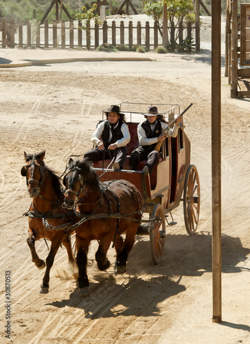 Valokuvatapetti Sheriff and Deputy driving a stagecoach, Mini Hollywood, Spain