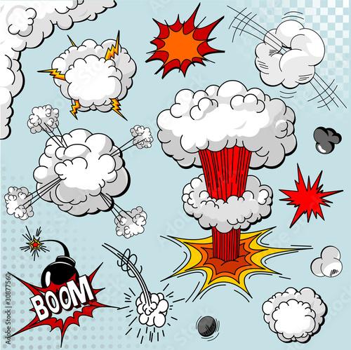 Fotografie, Obraz  Comic book explosion elements